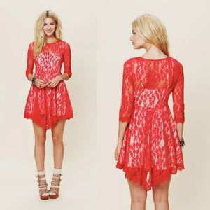 Free People The Floral Mesh Lace Dress in Hot Red